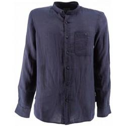 textil Hombre Camisas manga larga Woolrich Camisa Band Collar Hombre - Azul Azul