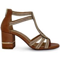Zapatos Mujer Sandalias Exé Shoes SANDALIA TACÓN BAJO BROWN  PENNY-455 Color Dorado
