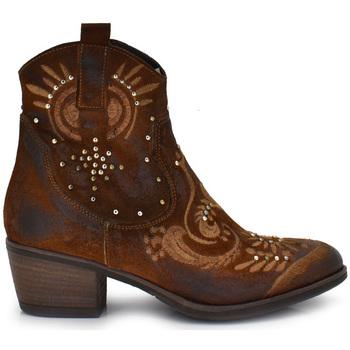 Zapatos Mujer Botines Exé Shoes BOTINES DE PIEL CON DETALLES BORDADOS CUERO BELA-444