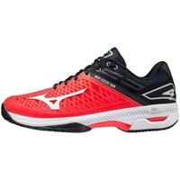Zapatos Hombre Tenis Mizuno Wave Exceed Tour 4 CC Negros, Rojos