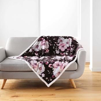 Casa Mantas Douceur d intérieur VELVET FLOWER Marrón