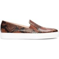 Zapatos Mujer Slip on Gennia Zapatillas Marrón Piel Casual Mujer Slip On Elastico - BEATRIZ Marrón