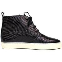 Zapatos Mujer Botas de caña baja Gennia Botines Mujer Planos Negro Piel Slip On Cordones - BRISA Negro