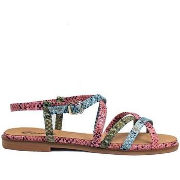 Zapatos Mujer Sandalias Gennia Sandalias Planas Tiras Piel Multicolor Mújer - FARA Rosa