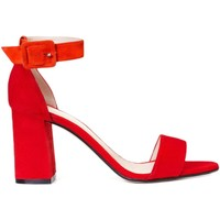 Zapatos Mujer Sandalias Gennia Sandalias Piel Rojo Mujer Tiras Tacon Ancho Hebilla - FRIDA Rojo