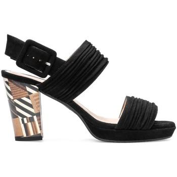 Zapatos Mujer Sandalias Gennia Sandalias Piel Negras Tacon Ancho Destalonadas Tiras - IBERIA Negro