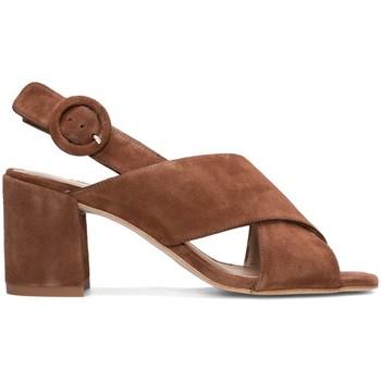 Zapatos Mujer Sandalias Gennia Sandalias Destalonadas Tacon Piel Marron Hebilla Tiras -IDOYA Marron