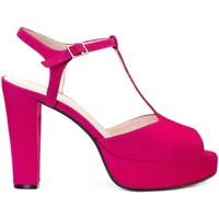 Zapatos Mujer Sandalias Gennia Sandalias Piel Destalonadas Rosa Tacon Plataforma Hebilla -IRIS Rosa