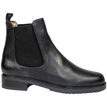 Zapatos Mujer Botas de caña baja Gennia Botines Chelsea Mujer Negro Casual Piel Planos - JADA Negro