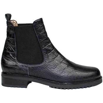 Zapatos Mujer Botas de caña baja Gennia Botines Chelsea Mujer Negro Casual Piel Planos Elasticos -JADA Negro