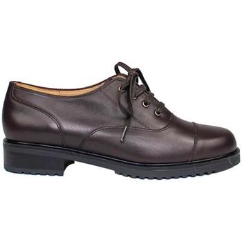 Zapatos Mujer Derbie Gennia Oxford Blucher Marron Casual Piel Planos Cordones - JANET Marrón