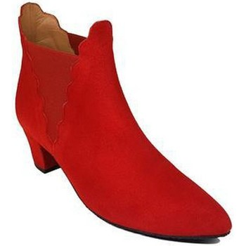Zapatos Mujer Botines Gennia Botines Chelsea Rojo Piel Mujer Tacon Bajo Elasticos - KATERINE Rojo