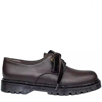 Zapatos Mujer Derbie Gennia Oxford Blucher Zapatos Casual Piel Marron Cordones - KRISTEL Marrón