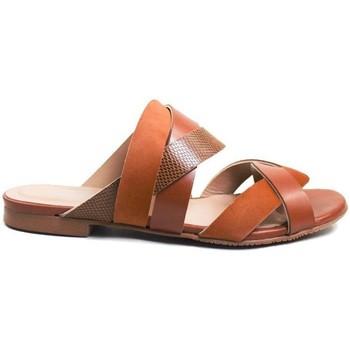 Zapatos Mujer Sandalias Gennia Sandalias Mules Planas Piel Mujer Tiras Comodas - LEIA Marrón