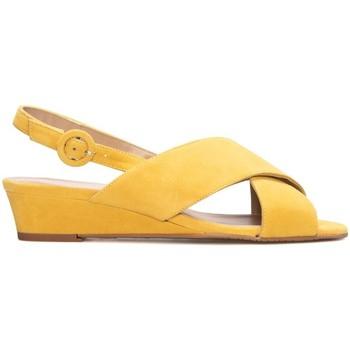 Zapatos Mujer Sandalias Gennia Sandalias Cuña Piel Mostaza Planas Destalonadas Tiras - LEIRE Amarillo