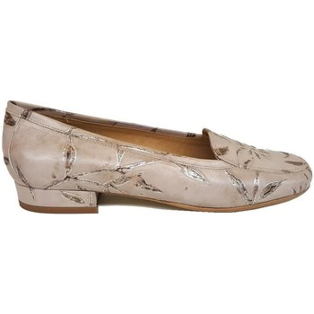 Zapatos Mujer Mocasín Gennia MAGIA Piel Napa Grabado Floral Beige Beige