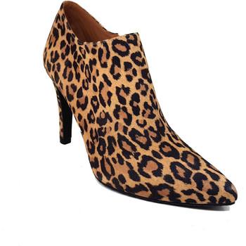 Zapatos Mujer Low boots Gennia Salones Abotinados Mujer Leopardo Piel Tacon Alto Punta -MALISO Marron