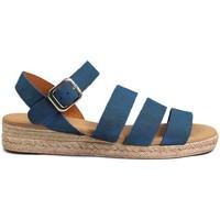 Zapatos Mujer Sandalias Gennia Sandalias Romanas Planas Piel Mujer Tiras Hebilla - SALMA Azul