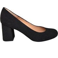 Zapatos Mujer Zapatos de tacón Gennia VIVA Piel Ante Negro con Lunares Blancos Negro