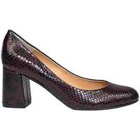 Zapatos Mujer Zapatos de tacón Gennia Salones Zapatos Tacon Ancho Piel Burdeos Punta Redonda - VIVA Negro