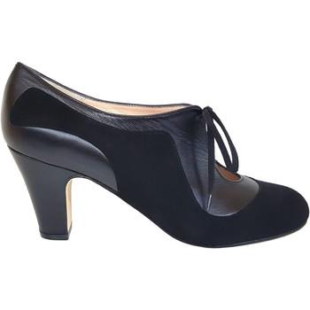 Zapatos Mujer Zapatos de tacón Gennia Salones Botines Negros Mujer Piel Tacon Medio Cordones-XALAO Negro