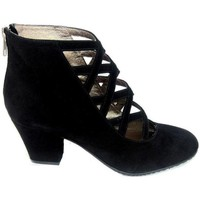 Zapatos Mujer Botines Gennia Botines Negro Tacon Ancho Piel Mujer Cremallera Tiras - XUPPA Negro