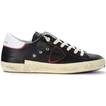 Zapatos Hombre Zapatillas bajas Philippe Model Zapatillas Paris X de piel negra con alerón blanco Negro