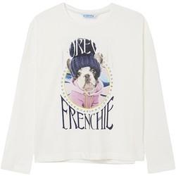 textil Niña Camisetas manga larga Mayoral Camiseta m/l perro Crudo Blanco