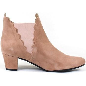 Zapatos Mujer Botines Gennia Botines Chelsea Beige Piel Mujer Tacon Bajo Elasticos- KATERINE Otros