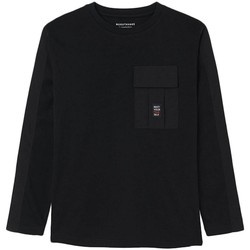 textil Niño Camisetas manga larga Mayoral Camiseta bolsillos plana Negro