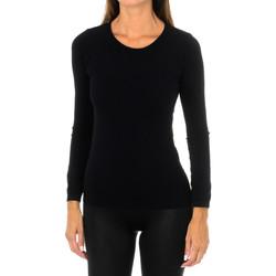 textil Mujer Camisetas manga larga Intimidea Camiseta manga larga Texas Negro