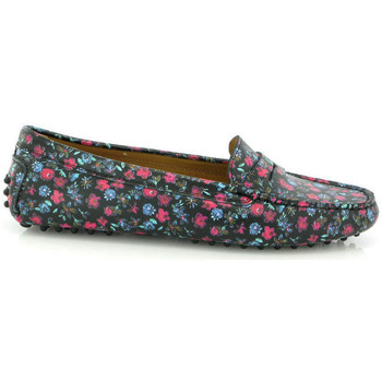 Zapatos Mujer Derbie Atlanta Mocassin Drivers Michèle en piel estampada flores primaverales Negro