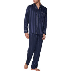 textil Hombre Pijama Admas For Men Pyjama satin tenue d'intérieur chemise et pantalon Stripes Azul Marine