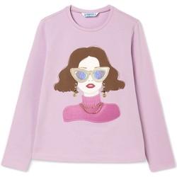 textil Niña Sudaderas Mayoral Camiseta m/l niña apliques Rosa