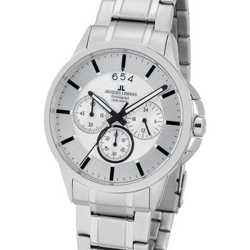 Relojes & Joyas Hombre Relojes analógicos Jacques Lemans 1-1542P, Quartz, 42mm, 10ATM Plata