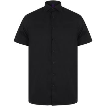 textil Hombre Camisas manga corta Henbury HB537 Negro