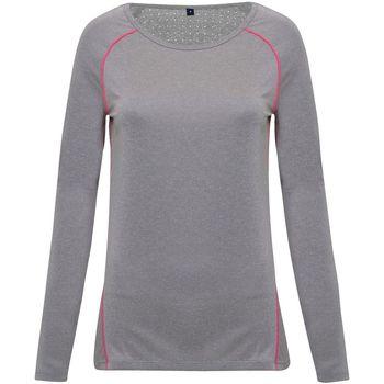 textil Mujer Camisetas manga larga Tridri TR040 Plata Jaspeado