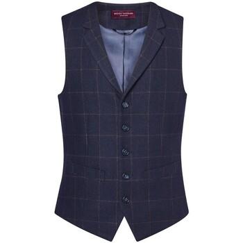 textil Hombre Chaleco de traje Brook Taverner BR180 Cuadros Marino