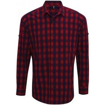 textil Hombre Camisas manga larga Premier PR250 Rojo/ Azul marino