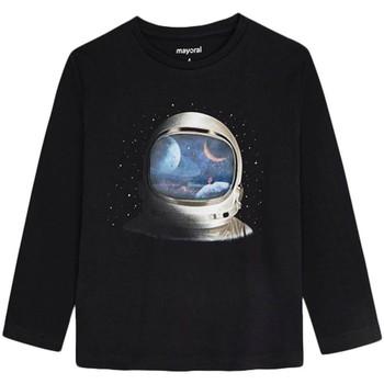 textil Niño Camisetas manga larga Mayoral Camiseta m/l lenticular Negro