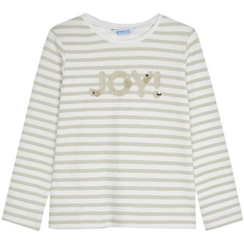 textil Niña Camisetas manga larga Mayoral Camiseta m/l rayas glitter Beige