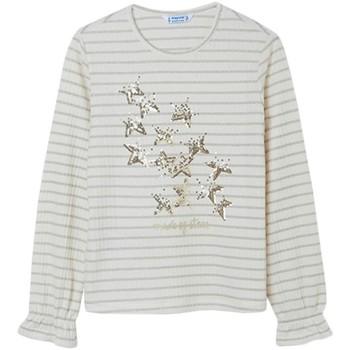 textil Niña Camisetas manga larga Mayoral Camiseta m/l rayas lurex Beige