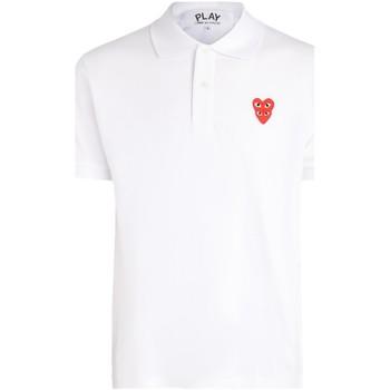 textil Hombre Polos manga corta Comme Des Garcons Polo Comme Des Garcons PLAY de algodón blanco con corazones Blanco