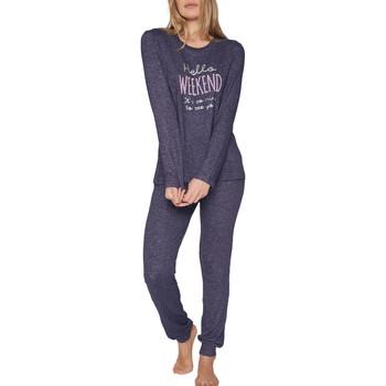 textil Mujer Pijama Admas Pyjama tenue d'intérieur pantalon top manches longues Hello Azul Marine