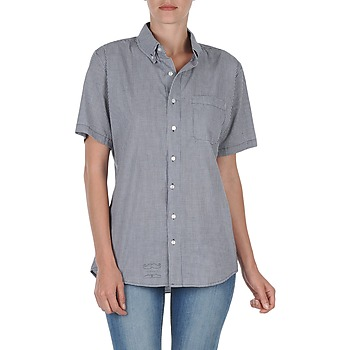 textil Mujer camisas manga corta American Apparel RSACP401S Blanco / Azul