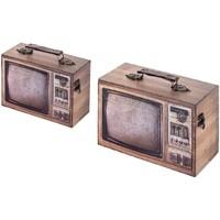 Casa Baúles, cajas de almacenamiento Signes Grimalt Caja tele Set 2 U Marrón