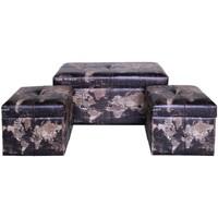 Casa Baúles, cajas de almacenamiento Signes Grimalt Set 3 baules mundo Negro