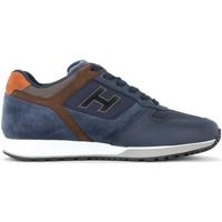 Zapatos Hombre Zapatillas bajas Hogan Zapatillas H321 de piel y mesh azul y marrón Multicolor