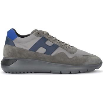 Zapatos Hombre Zapatillas bajas Hogan Zapatillas H371 Interactive³ de suede y tejido gris y azul Gris