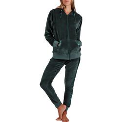 textil Mujer Pijama Admas Pijama de terciopelo interior pantalón chaqueta capucha Sport Verde Oscuro